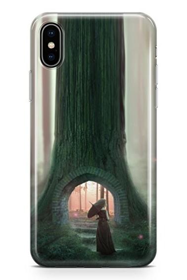 Lopard iPhone Xs Max Kılıf Silikon Arka Kapak Koruyucu Ağaç Köprüsü Desenli Full HD Baskılı Renkli